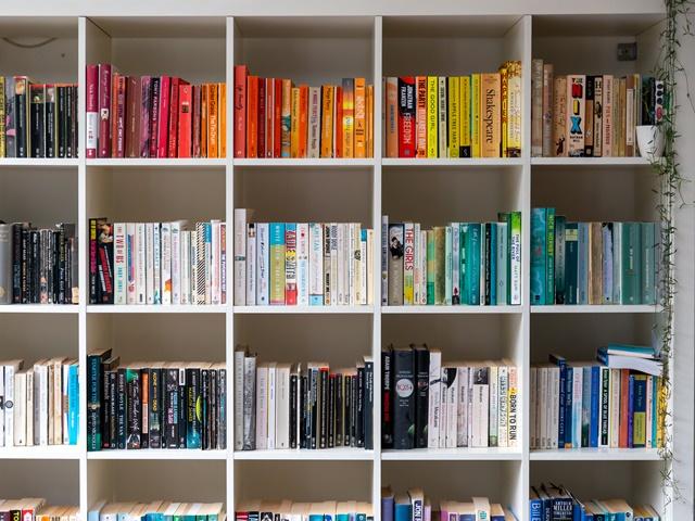 色別に本が並ぶ本棚