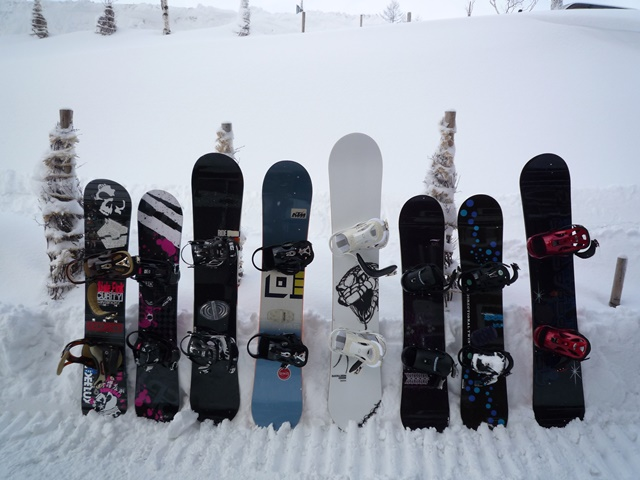スノーボードを収納するイメージ